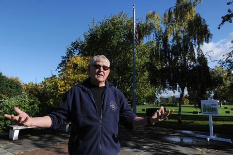 Former Anchorage Assembly Chair Ernie Hall is leading the effort to build a bell tower at the Anchorage Memorial Park Cemetery on Tuesday, Sept. 19, 2017. (Bill Roth / Alaska Dispatch News)