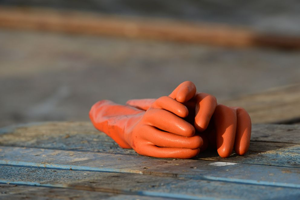 A Great Pacific Seafoods worker's rubber gloves rest the dock on as they wait for another skiff to unload in Kotzebue, Alaska on Friday, Aug. 8, 2014. (Bob Hallinen / ADN)
