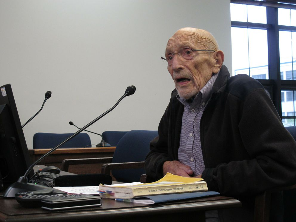 Victor Fischer, the last surviving delegate from the Alaska Constitutional Convention, testifies before a state House committee on Tuesday in Juneau. (AP Photo/Becky Bohrer)