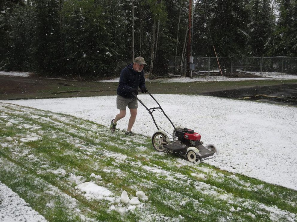 Snow in Tok on Tuesday, May 17, 2016 and much of the Interior stunned residents after a long stretch of summery weather. Retired teacher Paul Kelley donned shorts and fired up the lawn mower in Tok for what he said was a silly Facebook photo-op. (Photo courtesy of Paul Kelley)