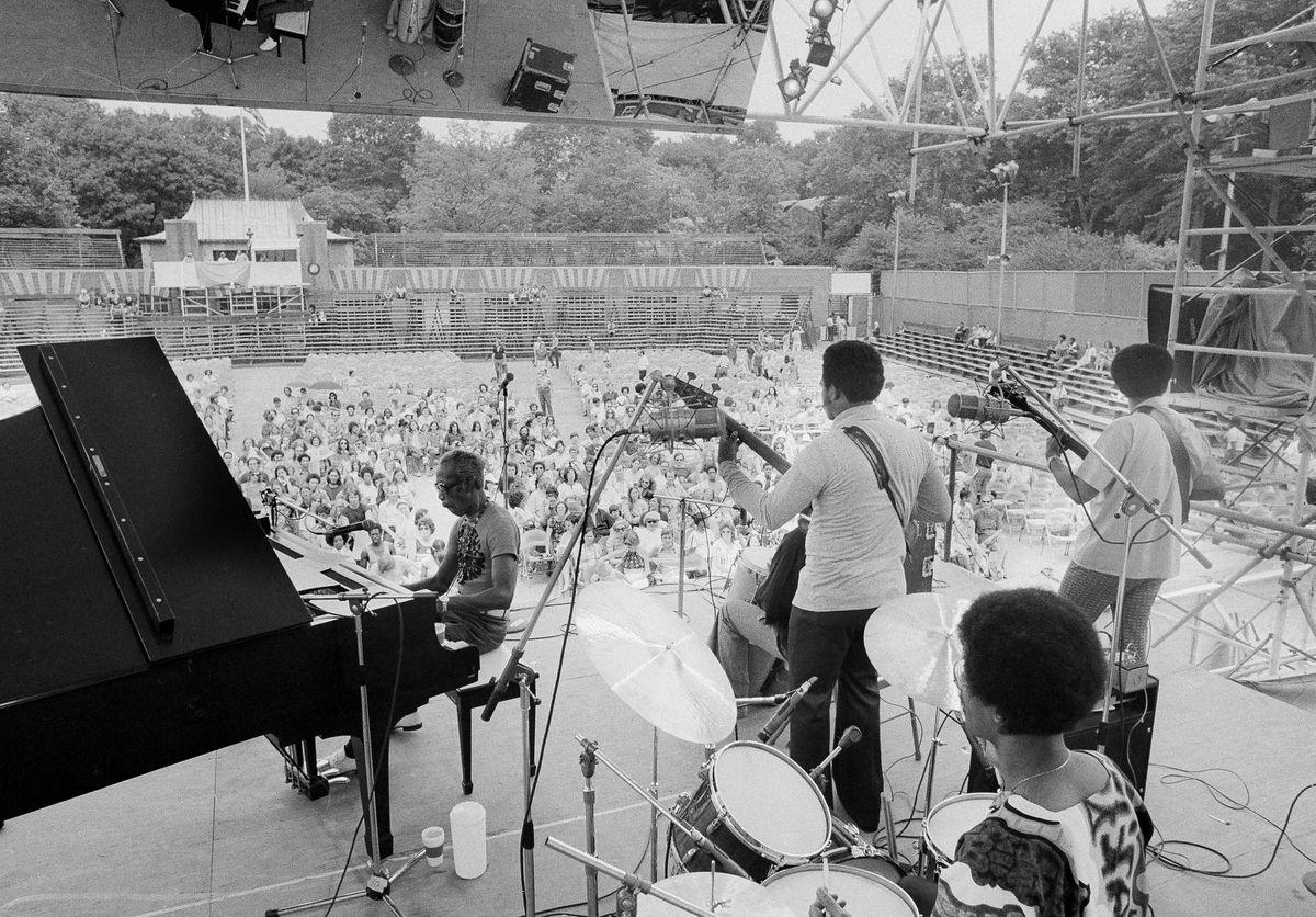 Professor Longhair, at the piano, plays the Newport Jazz Festival in 1973. (Richard Drew/AP)