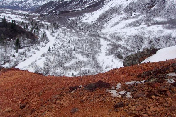 This view is from the top of a small ridge in Red Rock Canyon looking east toward the Canwell Glacier. (Photo by John Schandelmeier)