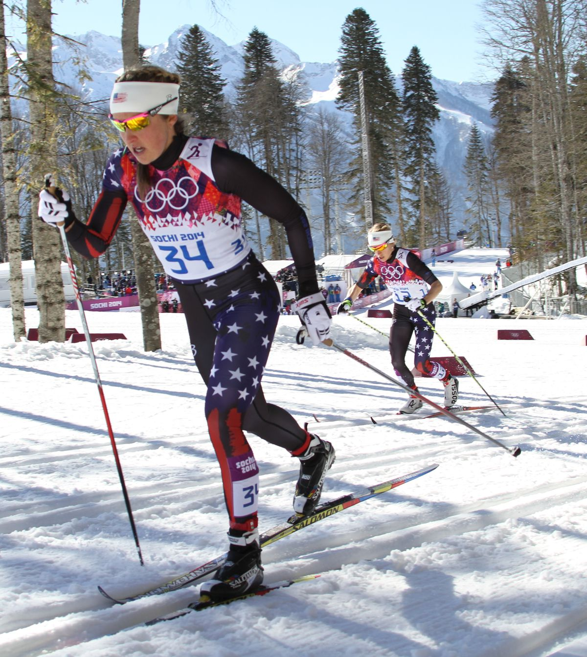Holly Brooks leads teammate Liz Stephen in the 15-kilometer skiathlon at the 2014 Winter Olympics in Sochi, Russia. (Nathaniel Herz / ADN archive 2014)