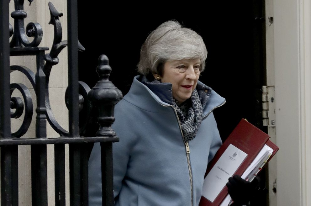 British Prime Minister Theresa May leaves 10 Downing Street in London recently. (AP Photo/Matt Dunham)