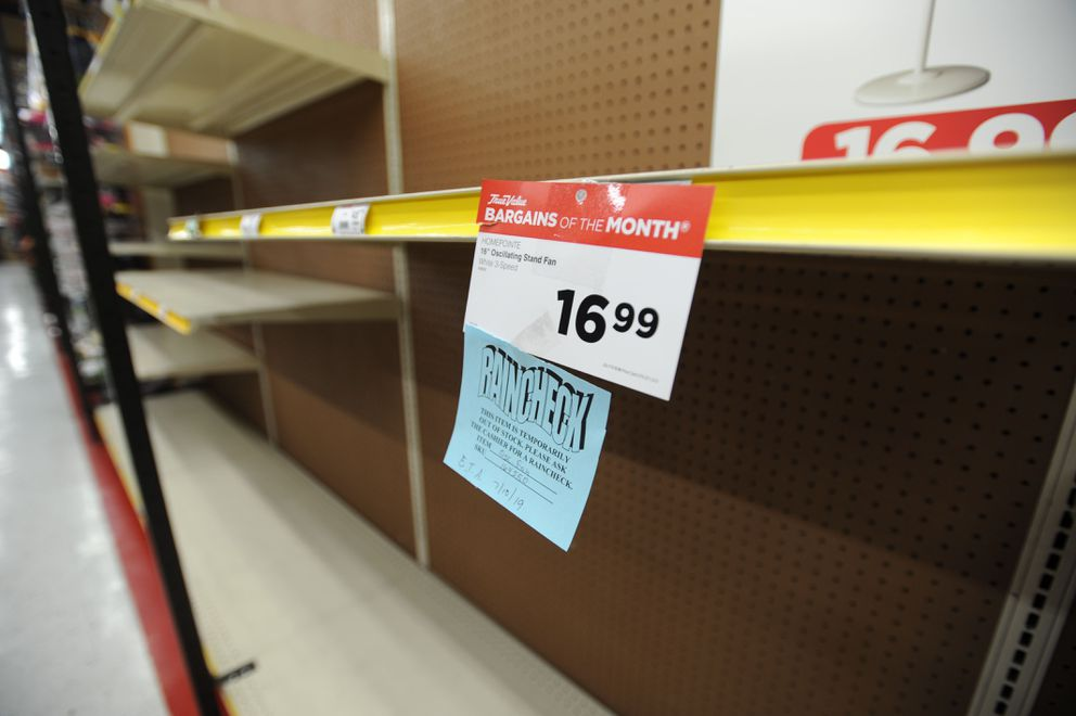Shelves at the Anchorage True Value Hardware store are empty of fans on Friday, July 5, 2019. (Anne Raup / ADN)