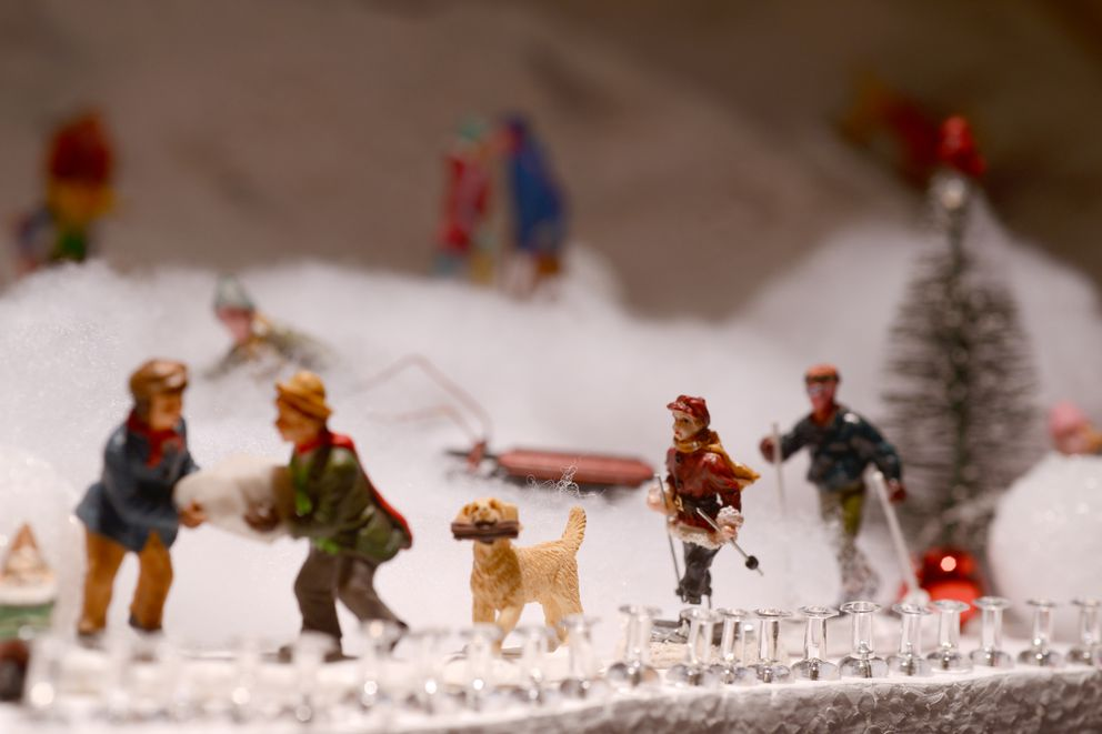 Part of Nate Baer's miniature Christmas village. (Anne Raup / ADN)
