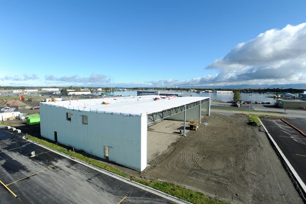 The first of three buildings in the Lake Hood Hangars complex is under construction on Tuesday, September 19, 2017, at Lake Hood Seaplane Base. The location allows easy access to Lake Hood as well as Ted Stevens Anchorage International Airport. (Erik Hill / Alaska Dispatch News)