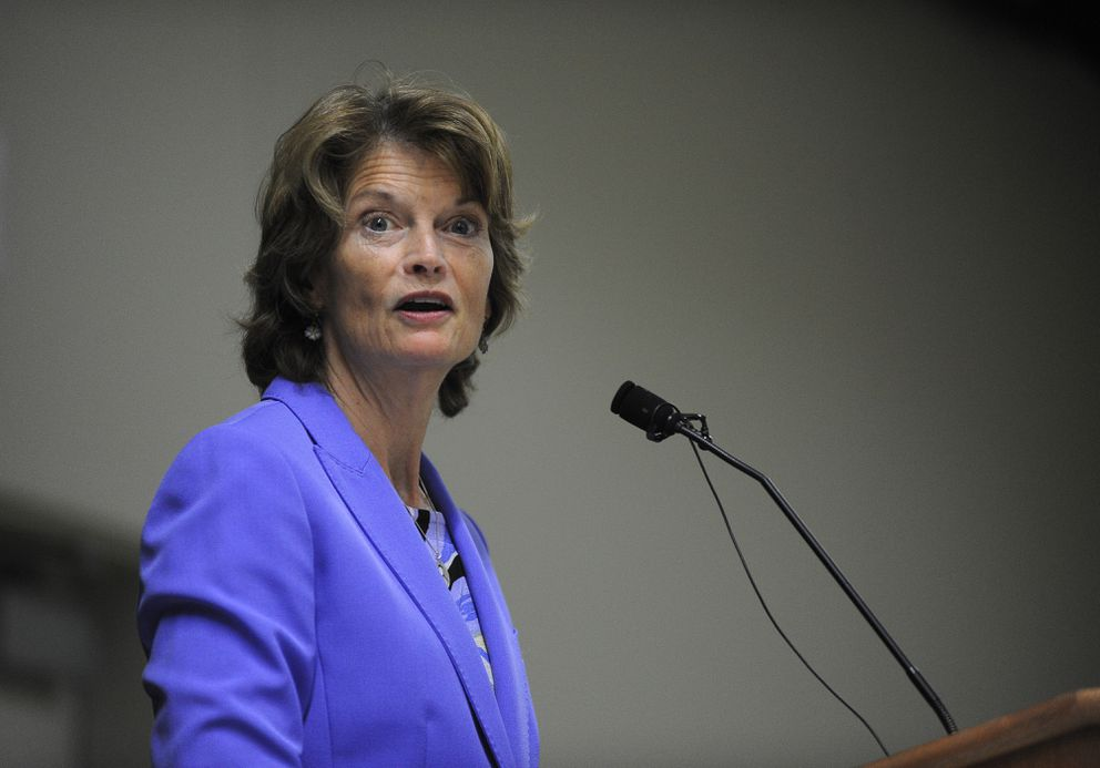 Sen. Lisa Murkowski talks to the Downtown Rotary Club at the Dena'ina Center in Anchorage on Aug. 29, 2017. (Bob Hallinen / Anchorage Daily News)