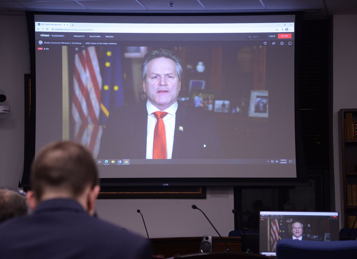 Republican members of the Alaska House of Representatives watch on Thursday, Jan. 28, 2021 from the Alaska State Capitol at Juneau as Gov. Mike Dunleavy delivers the annual State of the State address by video from Anchorage. (James Brooks / ADN)