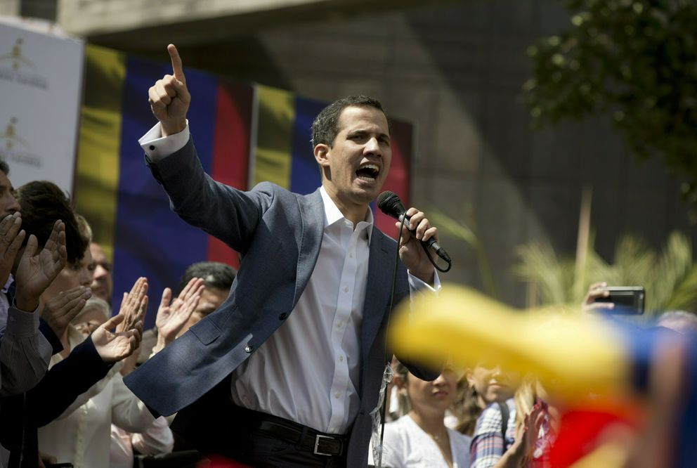 FILE - In this Jan. 11, 2019 file photo, Juan Guaido, president of the Venezuelan National Assembly, delivers a speech during a public legislative session in Caracas, Venezuela. The head of Venezuela's opposition-run congress declared himself president of Venezuela on Wednesday, Jan. 23, 2019. A Trump administration official and a U.S. congressional aide say U.S. President Donald Trump plans to recognize Guaido as the interim president of the crisis-mired South American country. (AP Photo/Fernando Llano, File)