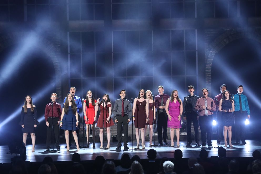 Students from Marjory Stoneman Douglas High School perform at the 72nd Annual Tony Awards at Radio City Music Hall in New York, June 10, 2018. (Sara Krulwich/The New York Times)