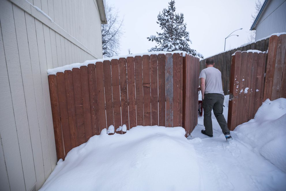 Matthew Robison walks through his neighbor's fence, which was level before the home sank about 15 inches during the Nov. 30 earthquake, on Friday. (Loren Holmes / ADN)