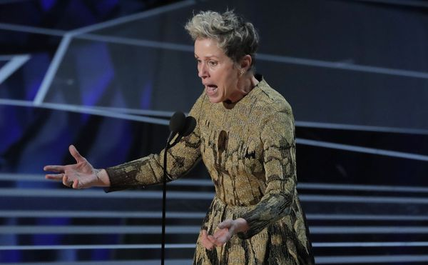 Frances McDormand accepts the Best Actress Oscar for her performance in Three Billboards Outside Ebbing, Missouri. REUTERS/Lucas Jackson