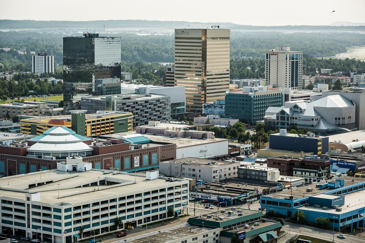 Downtown Anchorage summer aerial, July 18, 2012. (Loren Holmes / ADN archive)