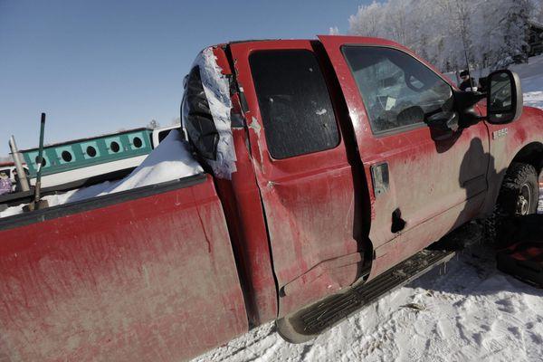Lev Shvarts's truck at the Iditarod restart, March 4, 2018. (Loren Holmes / ADN)