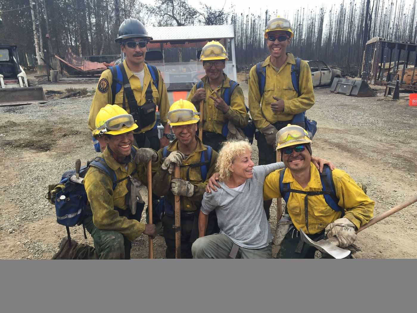 DeeDee Jonrowe and part of the Chevak Fire Crew. Photographed on Sunday, June 21, 2015.