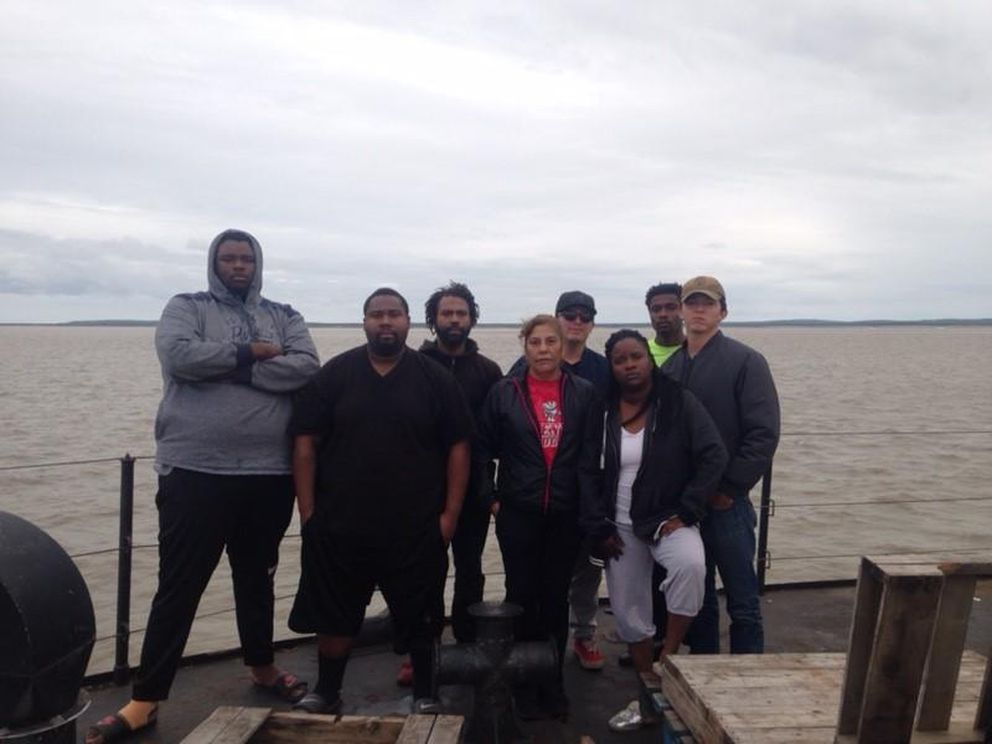 Some of the unpaid crew members of the F/V Akutan in late July outside Dillingham as they waited to get ashore and get home. (Photo courtesy Darlene Drummer via KDLG)
