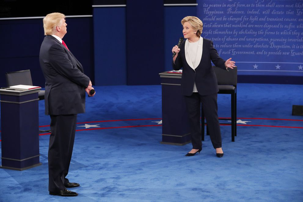 Hillary Clinton and Donald Trump during their second presidential debate at Washington University in St. Louis, Oct, 9, 2016. (Doug Mills / The New York Times)