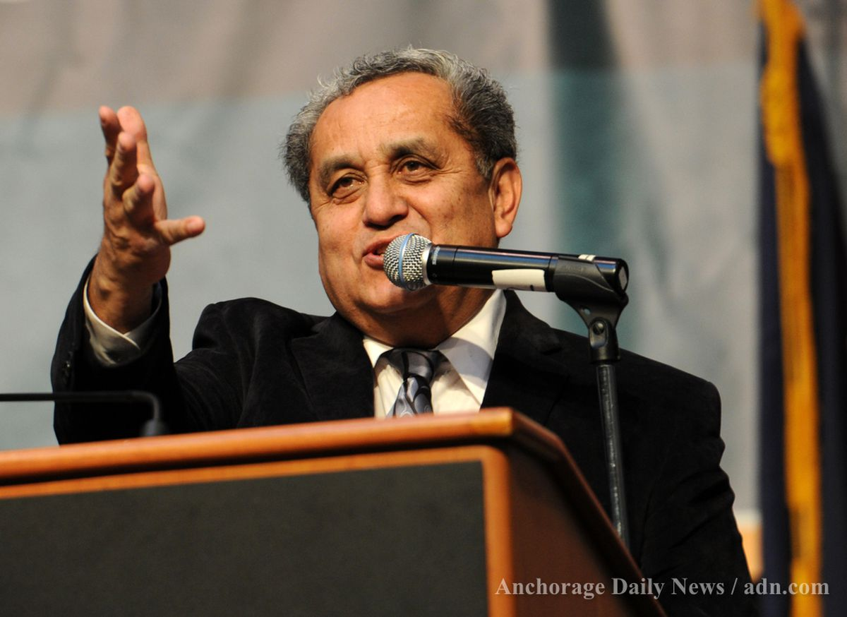 AFN co-chair Sen. Albert Kookesh introduces honored guests in the audience at the Alaska Federation of Natives Convention Thursday October 18, 2012 at the Dena'ina Civic and Convention Center in Anchorage. (Erik Hill / ADN archive)