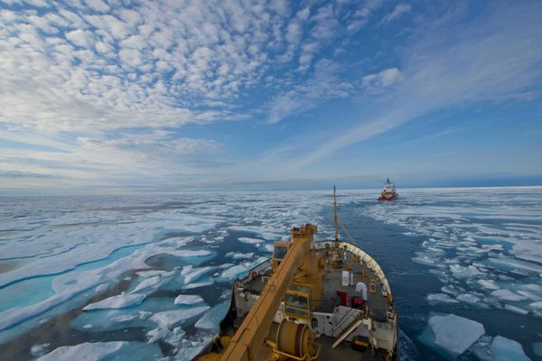 The crew of U.S. Coast Guard Cutter Maple follows the crew of Canadian Coast Guard Icebreaker Terry Fox through the icy waters of Franklin Strait, in Nunavut Canada, August 11, 2017. The Canadian Coast Guard assisted Maple's crew by breaking and helping navigate through ice during several days of Maple's 2017 Northwest Passage transit. The Maple, a 225-foot seagoing buoy tender last homeported in Sitka, was bound for Baltimore for a refit before continuing on to her new homeport of Charleston, South Carolina. (Petty Officer 2nd Class Nate Littlejohn / U.S. Coast Guard)