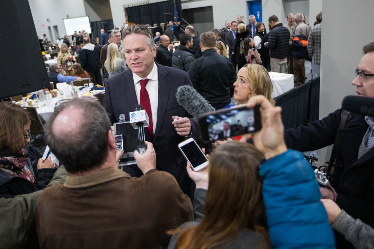 Gov.-elect Mike Dunleavy speaks to reporters after announcing his first cabinet pics Thursday, Nov. 8, 2018 at the Alaska Miners Association convention. (Loren Holmes / ADN)