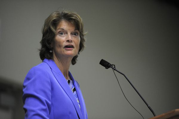 US Senator Lisa Murkowski talks to the Downtown Rotary Club at the Dena'ina Center in Downtown Anchorage, Alaska on Tuesday August 29, 2017. (Bob Hallinen / Alaska Dispatch News)