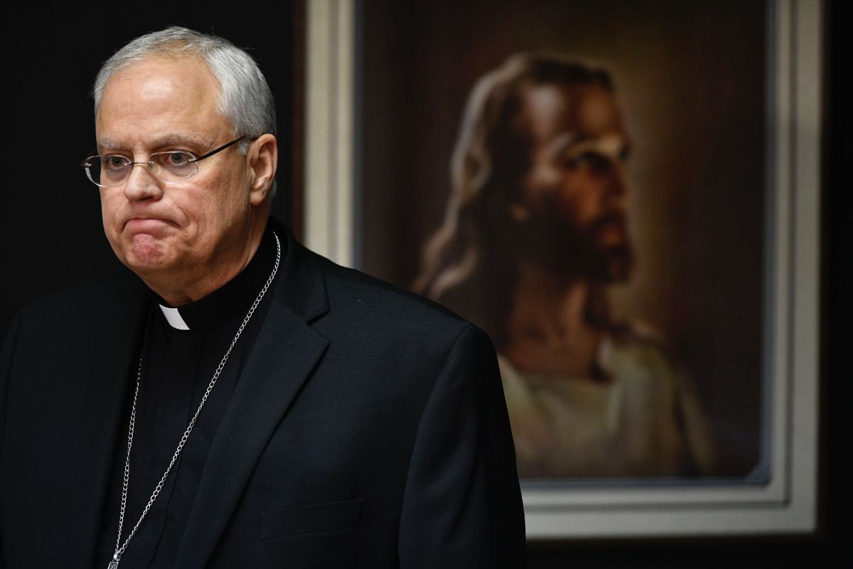Bishop Andrew Bellisario speaks to reporters at the Archdiocese Pastoral Center on January 16, 2020. (Marc Lester / ADN)