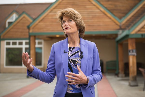 Senator Lisa Murkowski speaks with reporters after touring Prestige Care and Rehabilitation Center of Anchorage on Wednesday, August 9, 2017. (Loren Holmes / Alaska Dispatch News)