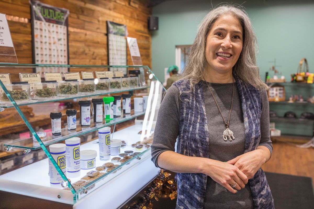 Aliza Sherman, CEO of Ellementa, a cannabis wellness company for women, at Enlighten AK, a women-owned retail marijuana shop in Anchorage. (Loren Holmes / Alaska Dispatch News)