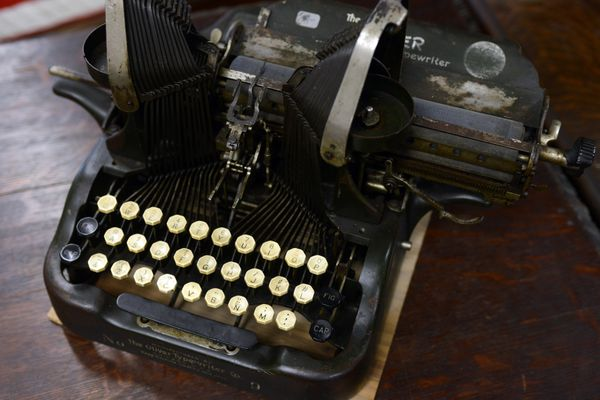 Antique typewriters photographed at Duane's Antique Market on Thursday, May 4, 2017, in Anchorage. (Erik Hill / Alaska Dispatch News)