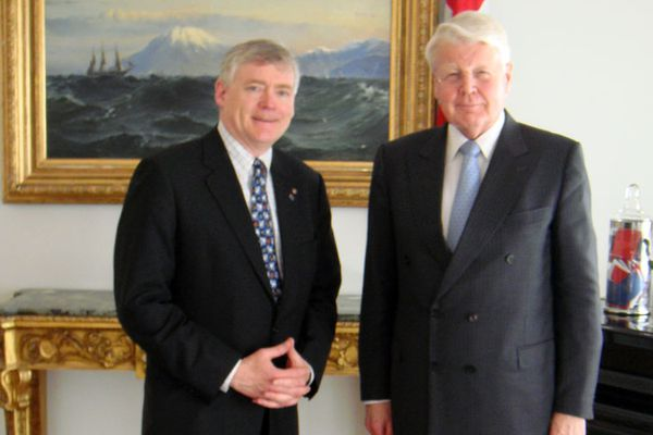 Alaska Lt. Gov. Mead Treadwell with Iceland President Olafur Ragnar Grimsson at the President's residence on May 11, 2011