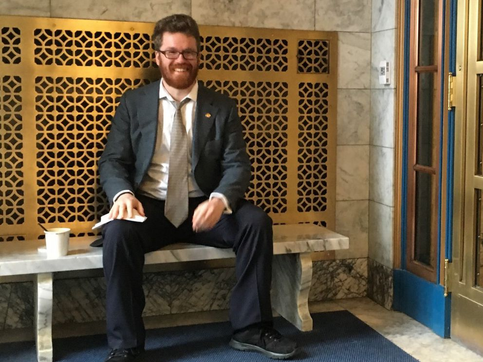Rep. Justin Parish, D-Juneau, at the entrance to the Alaska State Capitol. (Nathaniel Herz / Alaska Dispatch News)