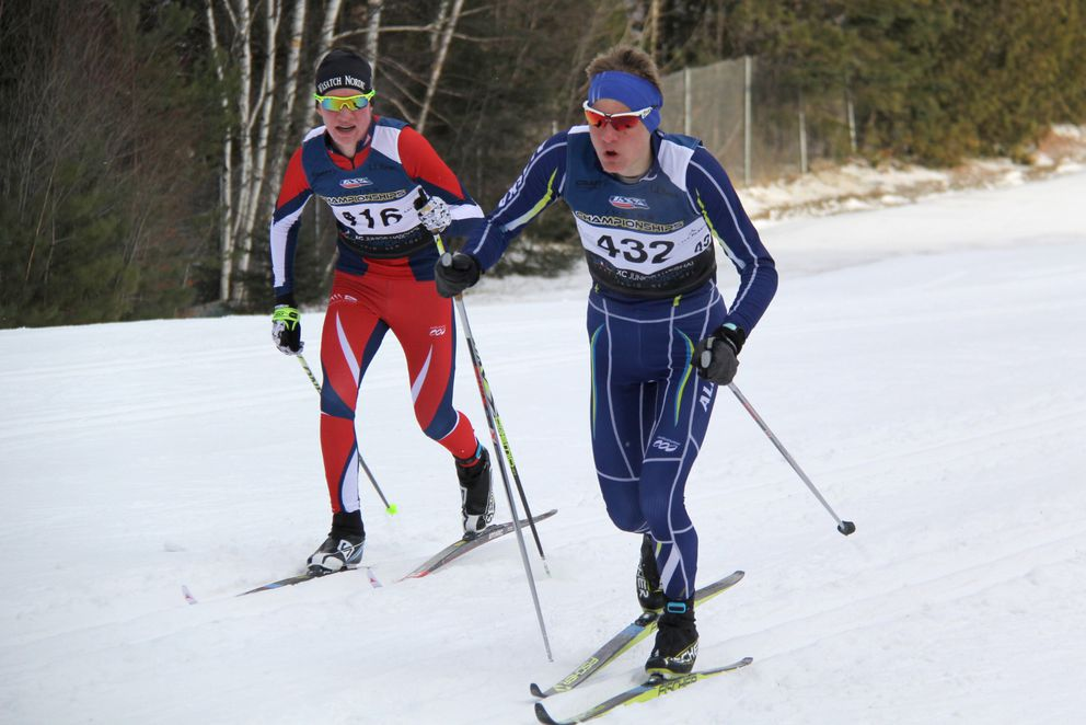George Cvancara (right) strides to the silver medal in Friday's U-16 boys race Friday. (Glenn Gellert / Team Alaska)