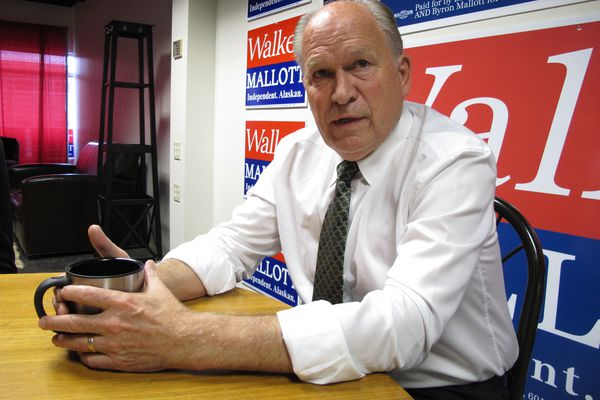 In this Monday, Aug.. 20, 2018 photo, Alaska Gov. Bill Walker is shown during an interview in his campaign office in Anchorage, Alaska. Walker, an independent, bypassed the primaries and instead gathered signatures to qualify for the general election in November, where he is expected to face Republican Mike Dunleavy and Democrat Mark Begich. (AP Photo/Becky Bohrer)