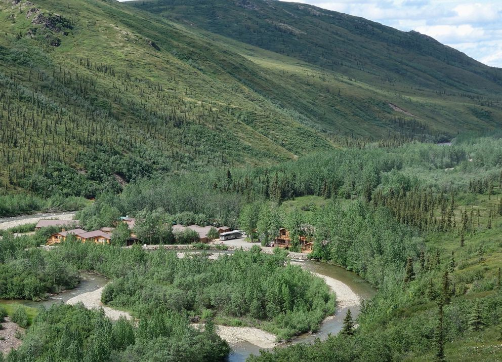 Looking down at Denali Backcountry Lodge (from Skyline Lodge), on the shores of the Moose River. (Photo by Scott McMurren)