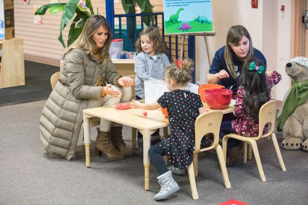 First lady Melania Trump visits families of active duty service members Friday, Nov. 10, 2017 at the Arctic Oasis Community Center on Joint Base Elmendorf-Richardson. Trump made a refueling stop in Anchorage during her return from a trip in Asia with the president. (Loren Holmes / Alaska Dispatch News)