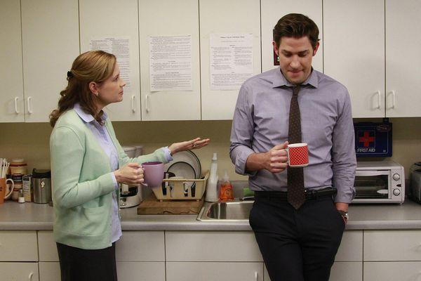 Cast members Jenna Fischer and John Krasinski appear on the set of
