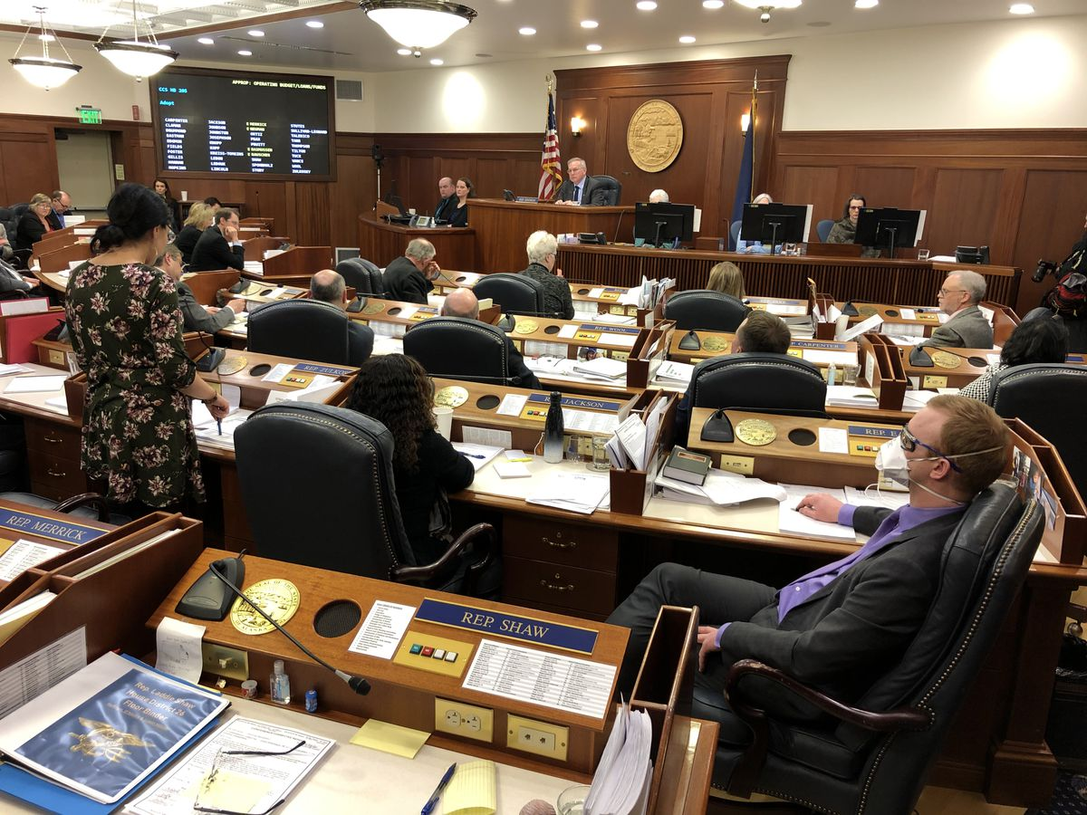 Rep. David Eastman, R-Wasilla, watches as Rep. Tiffany Zulkosky, D-Bethel, speaks in favor of the proposed state budget on Sunday, March 29, 2020. (James Brooks / ADN)
