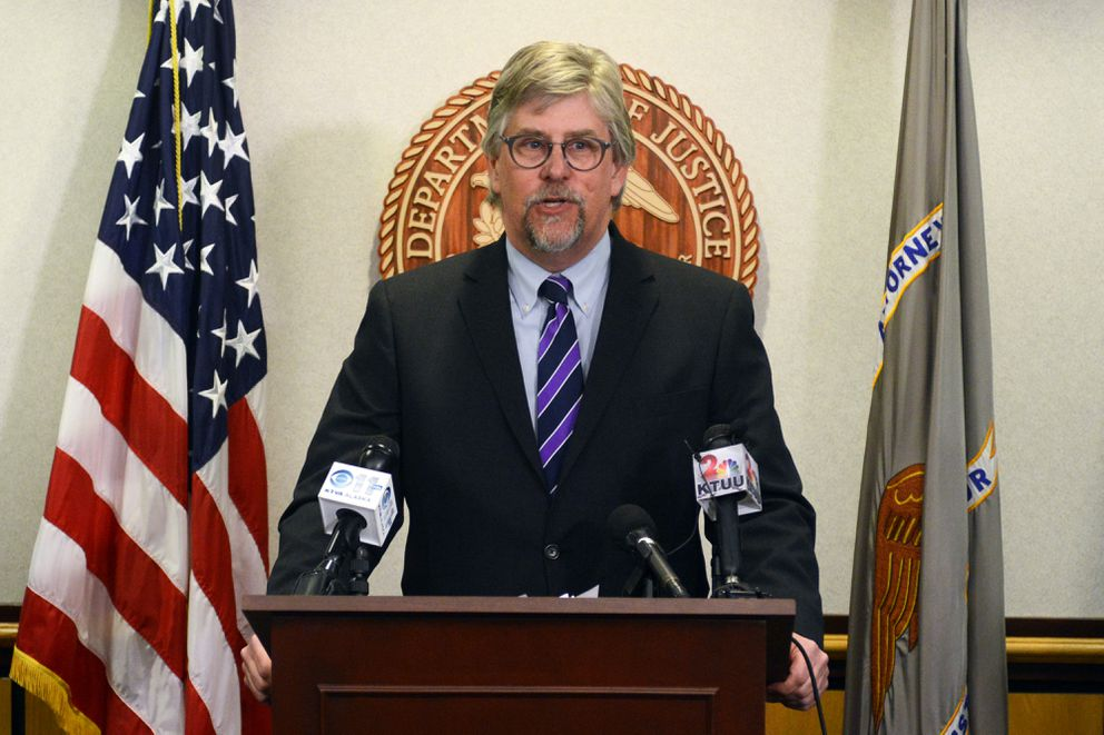 Acting U.S. Attorney Bryan Schroder announces federal murder charges against John Pearl Smith II, 30, in the June, 2016, murders of Ben Gross and Crystal Denardi of Wasilla on Thursday morning, March 23, 2017, at the James M. Fitzgerald U.S. Courthouse and Federal Building downtown. (Erik Hill / Alaska Dispatch News)