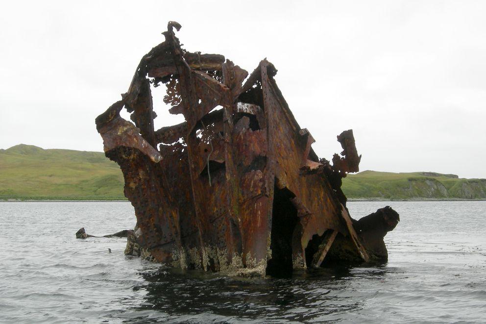 A Japanese ship rusts in the waters off Kiska Island. (Nancy Lord)