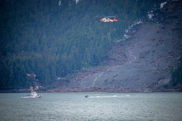 Search efforts were underway near the location of a landslide near Haines on December 3, 2020. (Tom Ganner photo)
