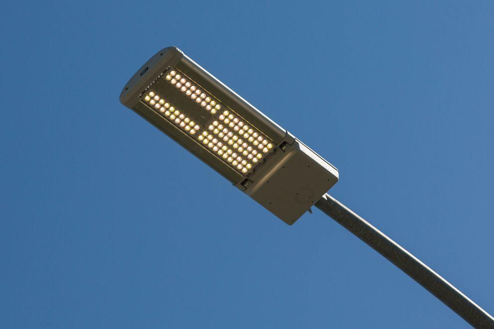 A newly installed LED streetlight on Medfra Street. (Loren Holmes / Alaska Dispatch News)