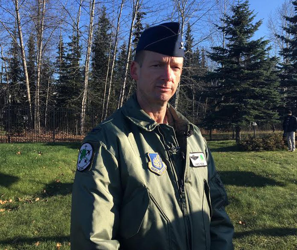 Air Force Col. Chris Niemi, the 3rd Wing commander at JBER, said someone pointed a green laser at four fighter jets Tuesday night. (Tegan Hanlon / Alaska Dispatch News)