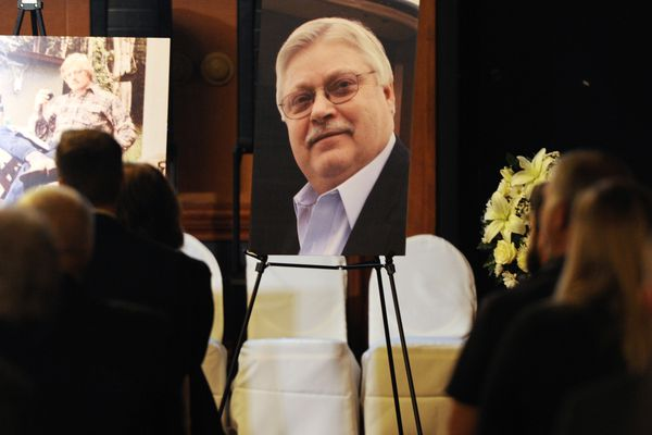 Several hundred people attended the funeral for Bob Gillam at the Hotel Captain Cook on Sunday, Sept. 23, 2018. (Bill Roth / ADN)