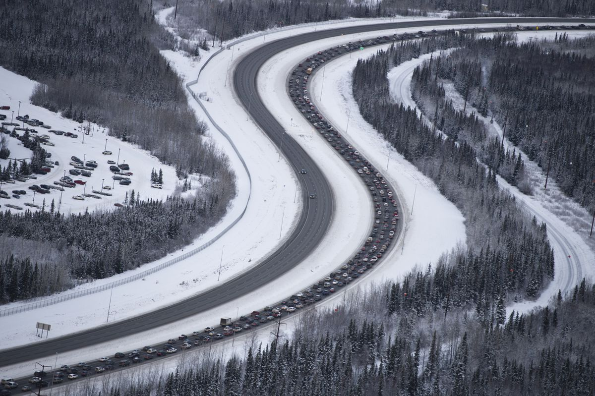 Traffic outbound from Anchorage on the Glenn Highway was at a standstill after an earthquake caused damage in the Anchorage area on November 30, 2018. (Marc Lester / ADN)
