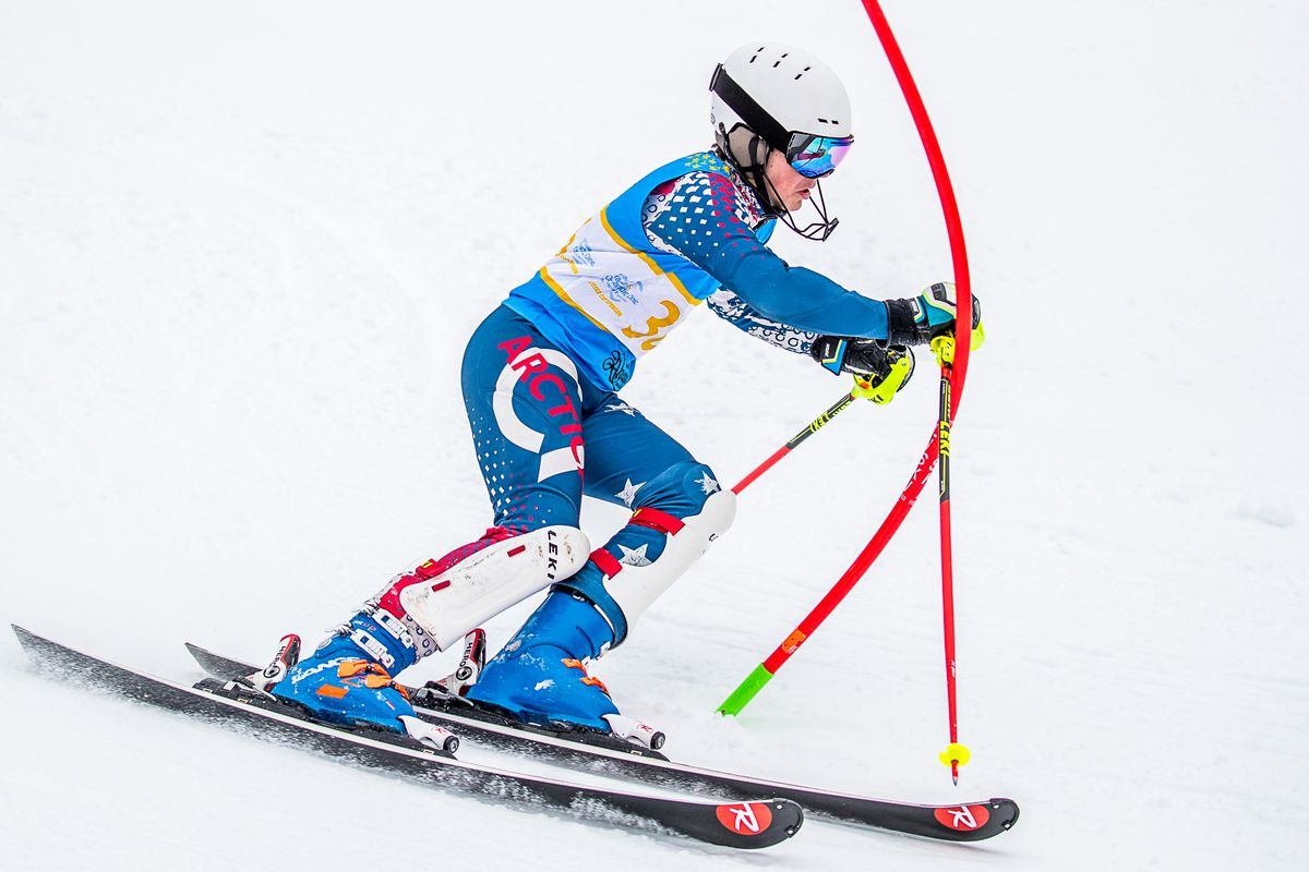Alyeska Ski Club's Colin Horrigan was the first U16 finisher and finished fifth overall in the first of two slaloms Friday at Alyeska during the Alyeska Cup/Alaska State Championships. (Photo by Bob Eastaugh)