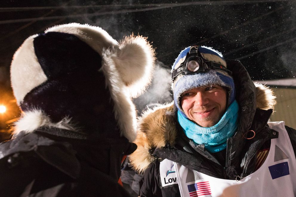 Joar Leifseth Ulsom after winning the Iditarod early Wednesday. (Loren Holmes / ADN)