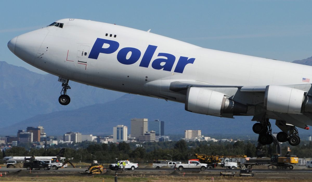 A Polar Air Cargo Boeing 747-400 freighter takes off from Ted Stevens Anchorage International Airport on Sept. 5, 2018. (Bill Roth / ADN)