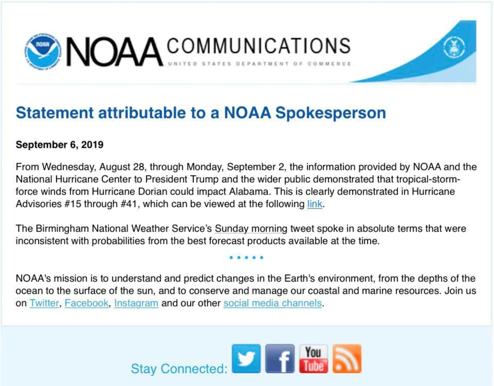 NOAA hurricane statement