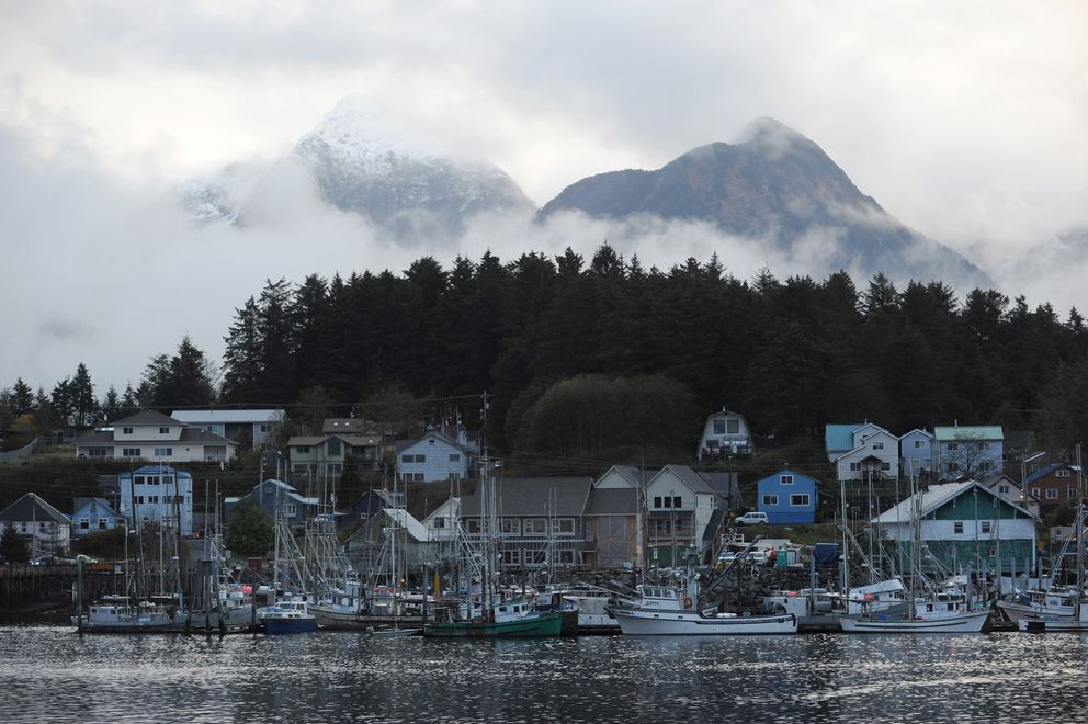 Mountains emerge from the mist beyond ANB Harbor Wednesday October 20, 2010 in Sitka. (Erik Hill / ADN archive 2010)